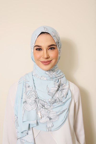 ( Blue Blooming ) Julia Round Awning Pinless Semi Instant Shawl