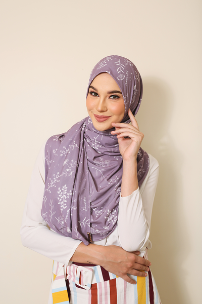 (Purple Herbs ) Julia Round Awning Pinless Semi Instant Shawl