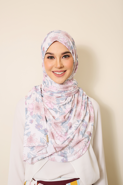 (Perfumed Floral) Julia Round Awning Pinless Semi Instant Shawl