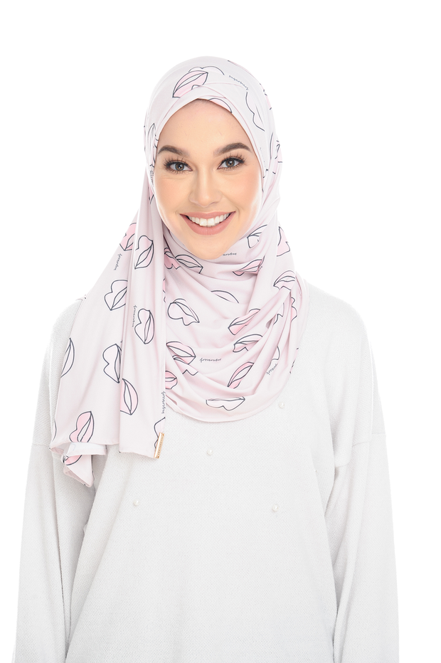 ( Pink Lippy ) Pinless Semi Instant Shawl - Choose Awning