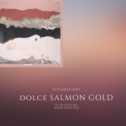 (Square) DOLCE Mix Satin Silk Scarf -  Salmon Gold