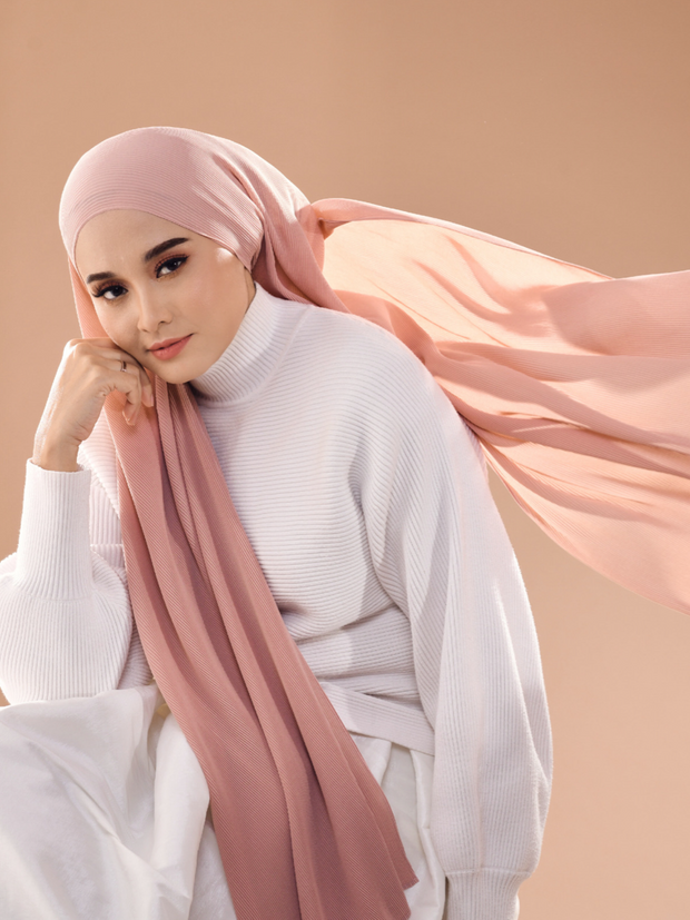 Breeze Wide Full Pleats Shawl - Charm ( Rosey Beige)( Full Straight)