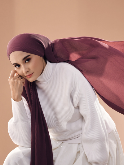 Breeze Wide Full Pleats Shawl - Luxe Maroon ( Full Straight)