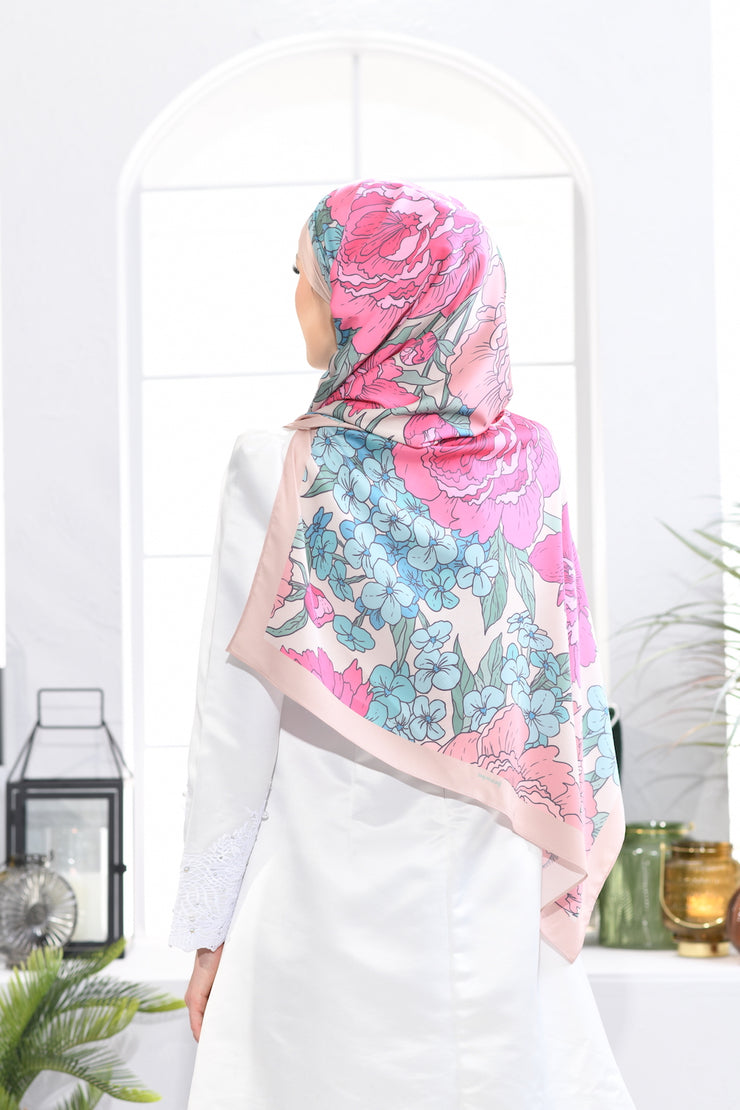 Long Shawl Mixed Satin Silk ROMANTIC ARDOR