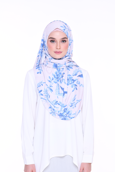 ( Glacier Garden ) JULIA Pinless Semi Instant Shawl - Round Awning