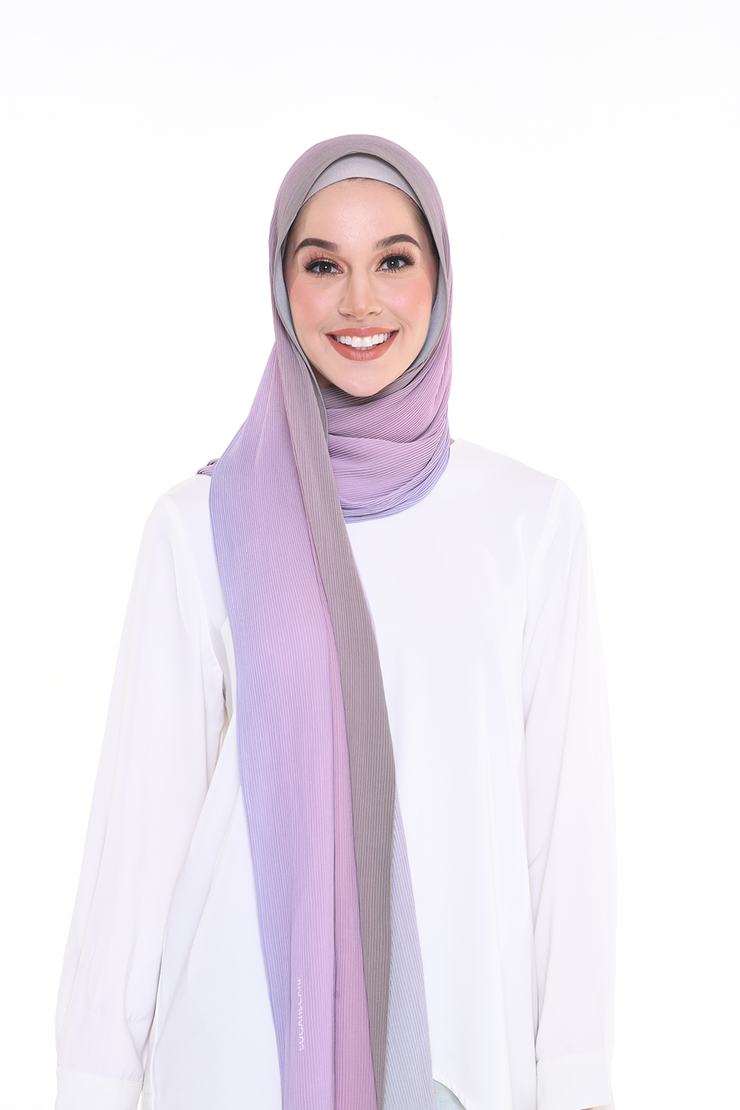 Lapez Ombre Small Pleats Shawl - Berry Love