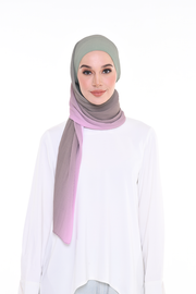 Lapez Ombre Small Pleats Shawl - Tembikai Strawberry