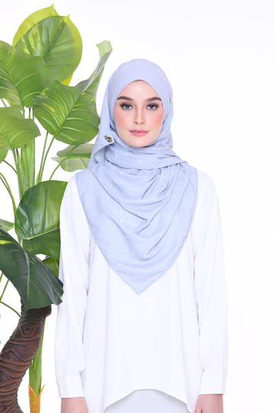 Monogram Louisa (SHAWL ) - Silver Blue