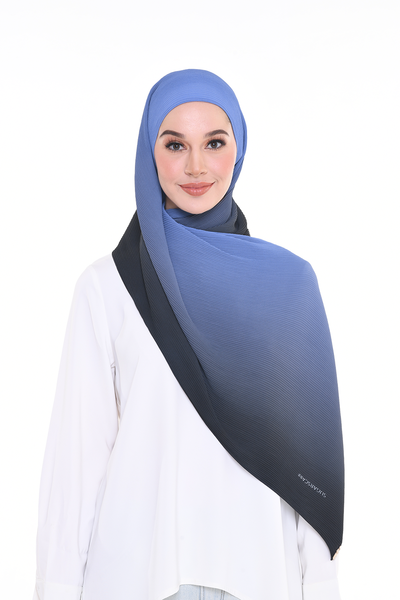 Lapez Ombre Small Pleats Shawl - DARK FROZEN