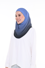 Lapez Ombre Small Pleats Shawl - DarkFrozen