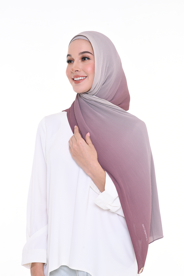 Lapez Ombre Small Pleats Shawl - Twilight