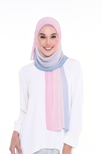 Lapez Ombre Small Pleats Shawl - IceCream