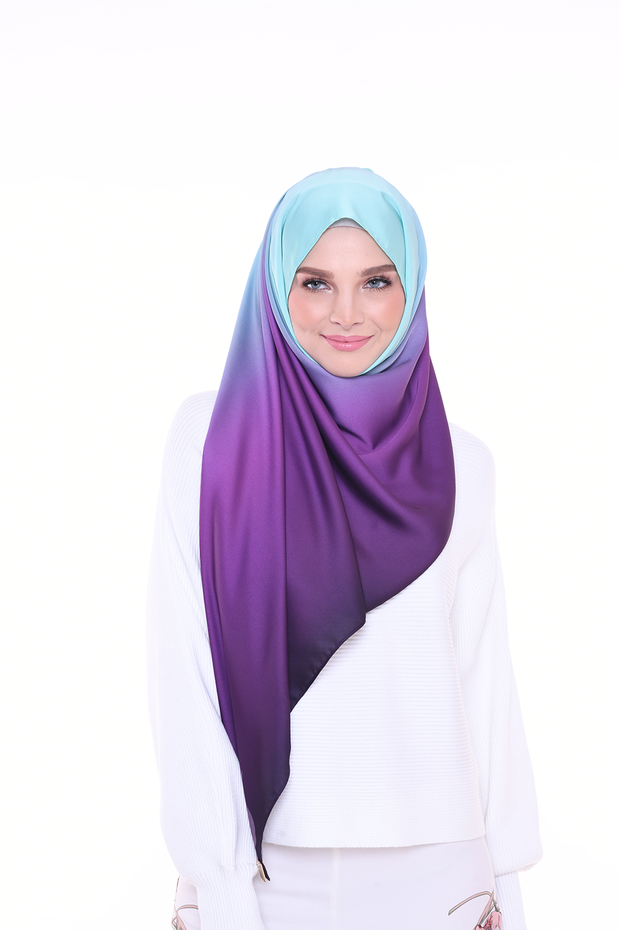 Long Scarf TWILIGHT Mixed Satin Silk ( Orchid Mist )