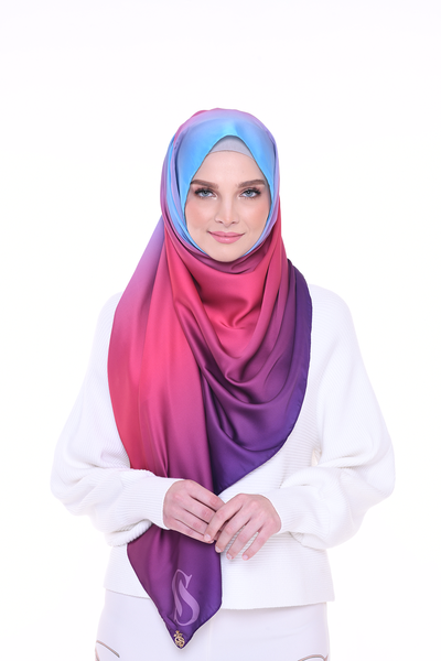 LONG SCARF TWILIGHT mixed satin silk  (Cotton Candy)
