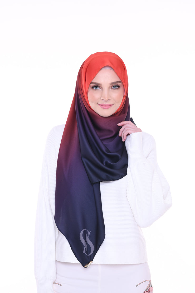 Long Scarf TWILIGHT Mixed Satin Silk ( Flamming Blue )