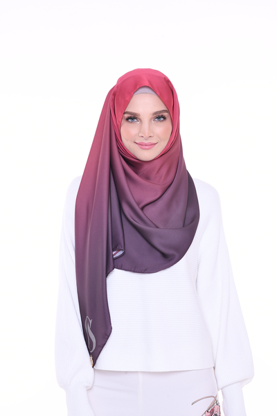 LONG SCARF TWILIGHT mixed satin silk Mauve Rosey