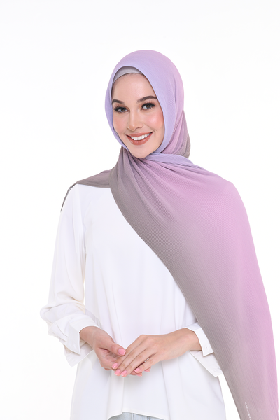 Lapez Ombre Small Pleats Shawl - Chocolate Berry