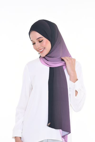 Lapez Ombre Small Pleats Shawl - Ribena