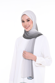 Lapez Ombre Small Pleats Shawl - Charcoal