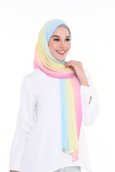 Lapez Ombre Small Pleats Shawl - BubbleGum