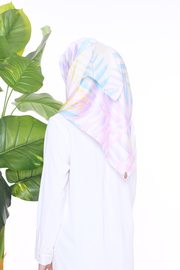 (Square) Mixed Satin Silk Scarf in ( UNICORN LEAVES )
