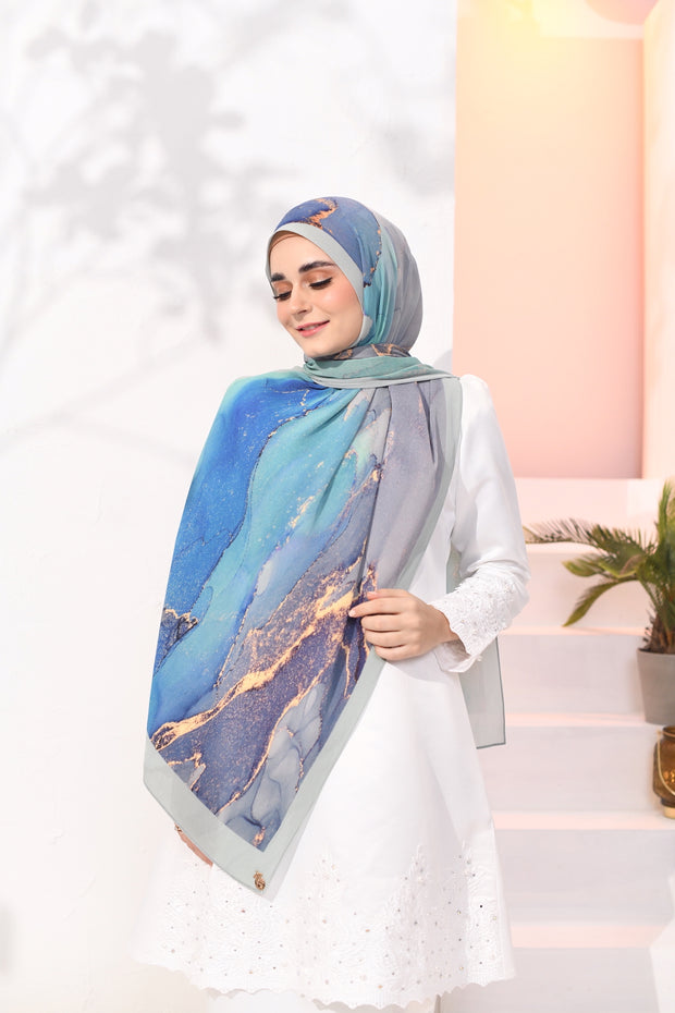 EID DOLCE Pleats Long Shawl in Ombak Rindu