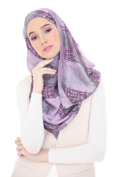 100% Silk Art Purple