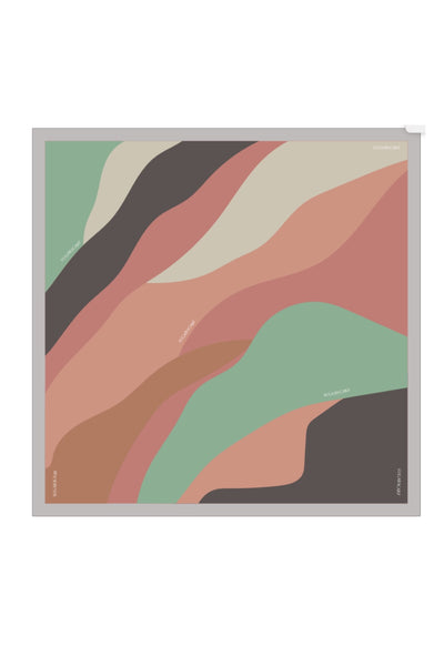 (Square) ArtAbstract MintGreen MixSatin Silk Scarf