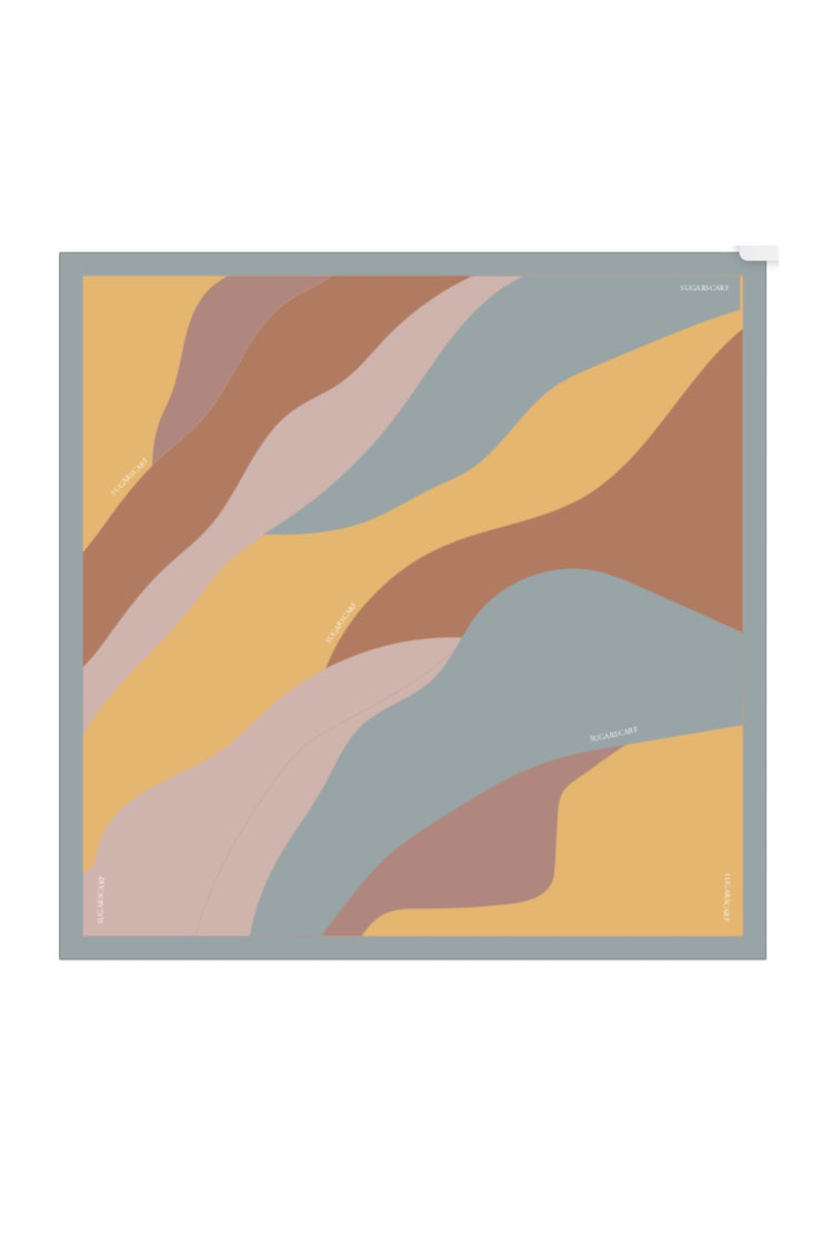 (Square) ArtAbstract Yellow MixSatin Silk Scarf