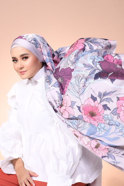 Eid Blooming Lux Mixed Satin Silk ( Shawl ) - Emma