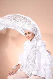 Eid Blooming Lux Mixed Satin Silk ( Shawl ) - Olivia Pure Rose