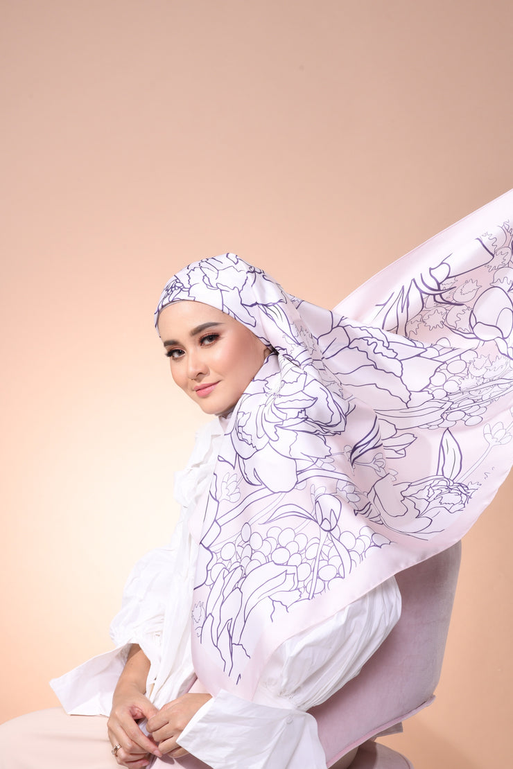 Eid Blooming Mixed Satin Silk (Square ) - Olivia Pure Rose