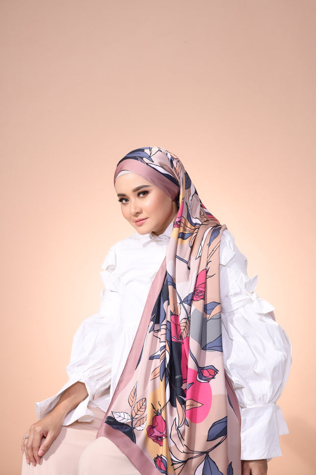 Eid Blooming Lux Mixed Satin Silk ( Shawl ) - Isabella Rosey