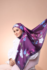 Eid Blooming Mixed Satin Silk (Square ) - Sophia Bluebell
