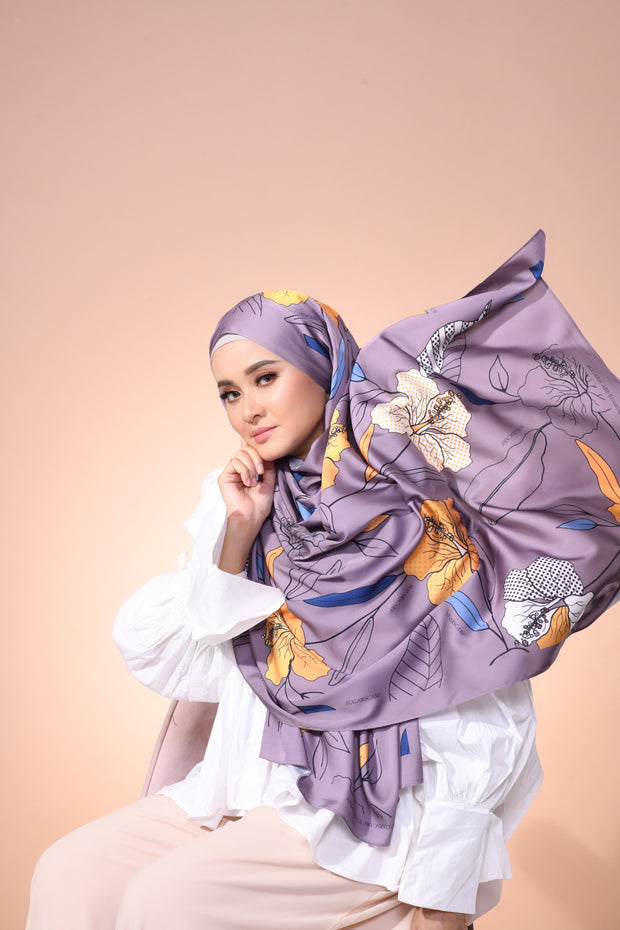 Eid Blooming Lux Mixed Satin Silk ( Shawl ) - Ava The Sunshine