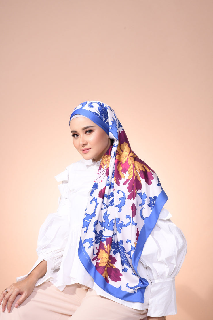 Eid Blooming Lux Mixed Satin Silk ( Shawl ) - Amelia