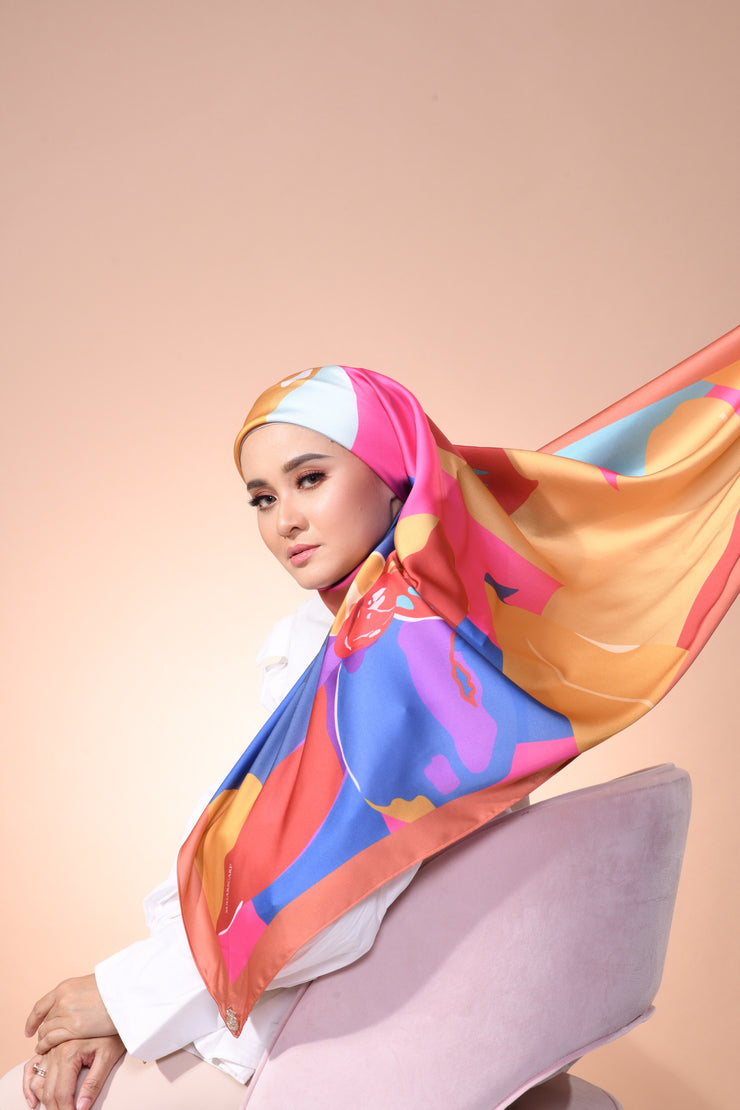 Eid Blooming Mixed Satin Silk (Square ) - Mia The Joyous
