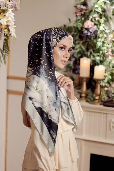 (Square) Dolce NightForest MixSatin Silk Scarf -   ( restocking on 25th )