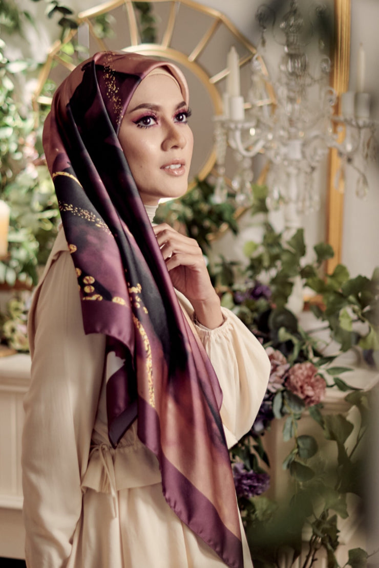 ( Square ) DOLCE Mix Satin Silk Scarf - PureHeart