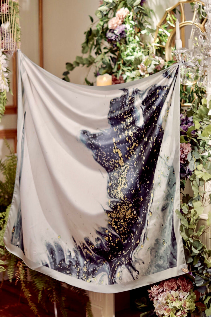 ( Square ) DOLCE Mix Satin Silk Scarf - NightForest