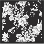 (Square) EMPRESS Mix Satin Silk Scarf in FLEUR NOIR