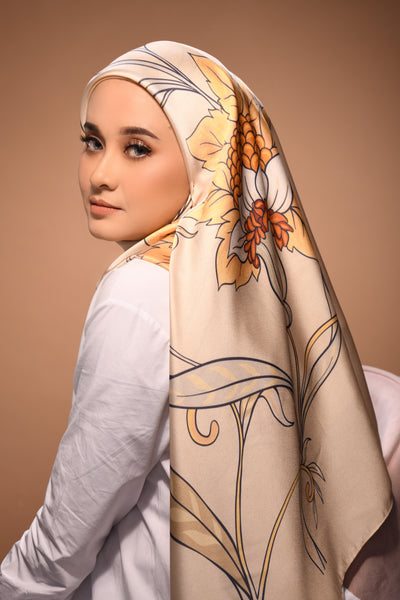 (Square) EMPRESS Mix Satin Silk Scarf in SAND QUEEN