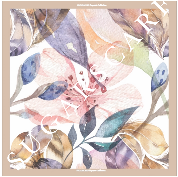 (Square) EMPRESS Mix Satin Silk Scarf in MY CHARMING FLEUR