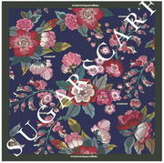 (Square) Empress MixSatin Silk Scarf in Royal Bloom