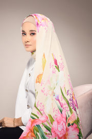 ( Full Pleats ) EMPRESS BLOOMING Shawls  - Cream