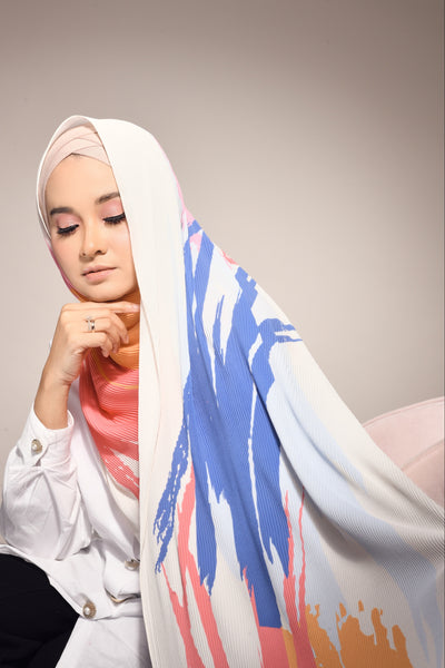( Full Pleats ) EUPHORIA Shawls - White Mix (Get Dressed)