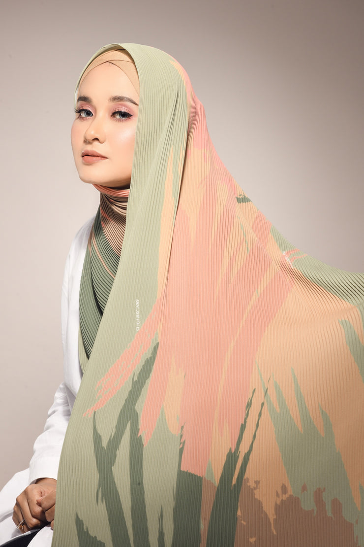 ( Full Pleats ) Euphoria Shawls Dusty Green - ( Opportunities )