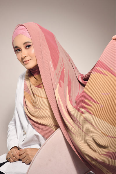 (  Full Pleats ) Euphoria Shawls Dusty Pink - ( Calm  )