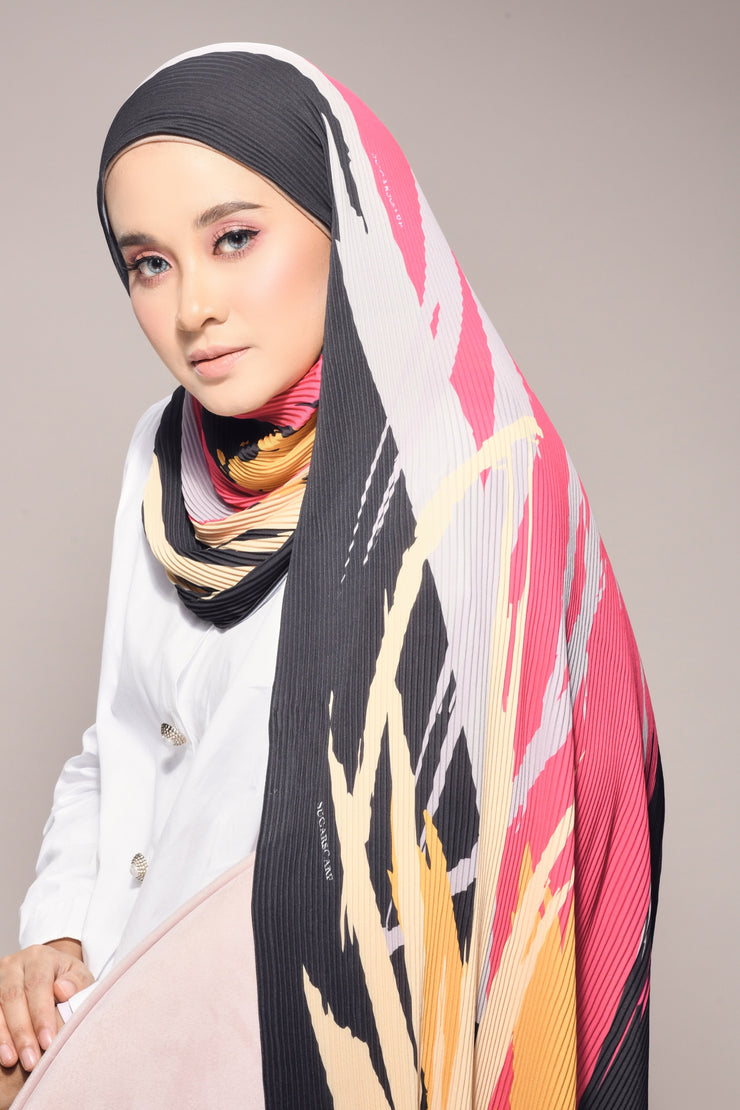 (  Full Pleats ) Euphoria Shawls Black Pink - ( Empire  )