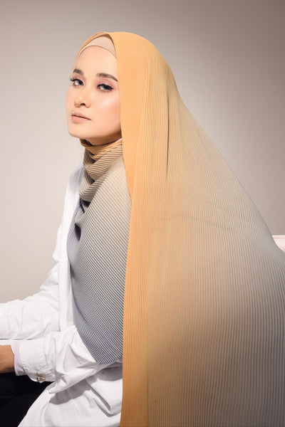 Lapez Ombre Small Pleats Shawl - Mustard Gray